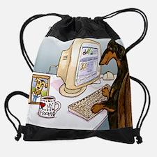 Cute Dachshund shopping Drawstring Bag
