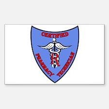 Certified Pharmacy Tech Badge Sticker (Rectangular