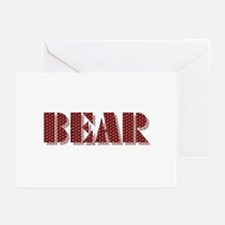 BEAR-RED DIMPLED SHADOW/PAW GreetinCards10 Pk
