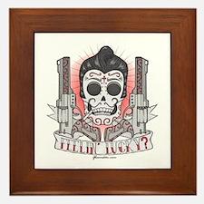 Greaser Sugar Skull Framed Tile