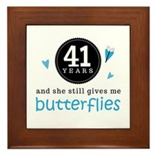 41 Year Anniversary Butterfly Framed Tile