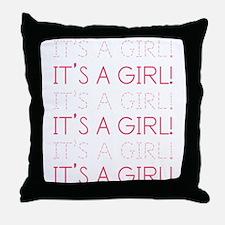 Pink It's a Girl Throw Pillow