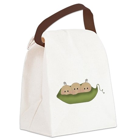 Caucasian Triplets Canvas Lunch Bag