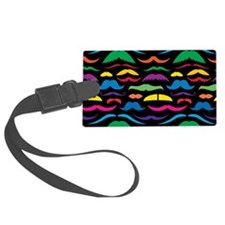 Mustache Color Pattern Black Luggage Tag