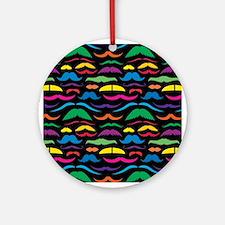 Mustache Color Pattern Black Ornament (Round)