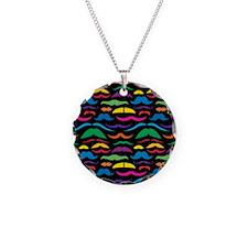 Mustache Color Pattern Black Necklace