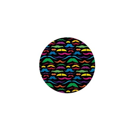Mustache Color Pattern Black Mini Button