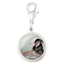 Baby chimp wildlife art Silver Round Charm