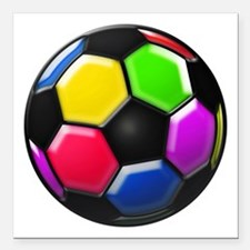"Rainbow Soccer Ball Square Car Magnet 3"" x 3"""