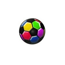 Rainbow Soccer Ball Mini Button (100 pack)