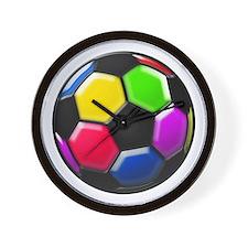 Rainbow Soccer Ball Wall Clock