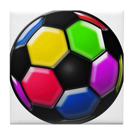 Rainbow Soccer Ball Tile Coaster