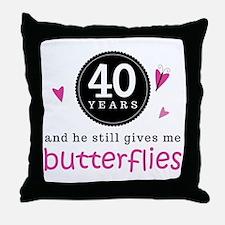40th Anniversary Butterflies Throw Pillow