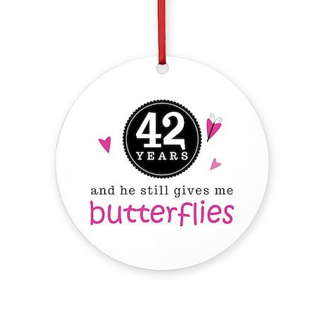 42nd Anniversary Butterflies Ornament (Round)