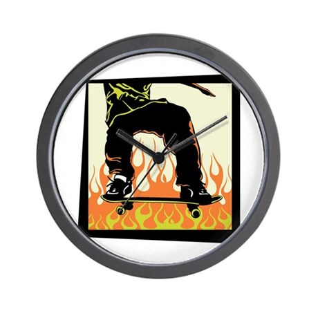 Skateboarding Flames Design Wall Clock