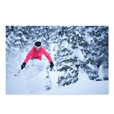 Skier jumping on snowy sl Postcards (Package of 8)
