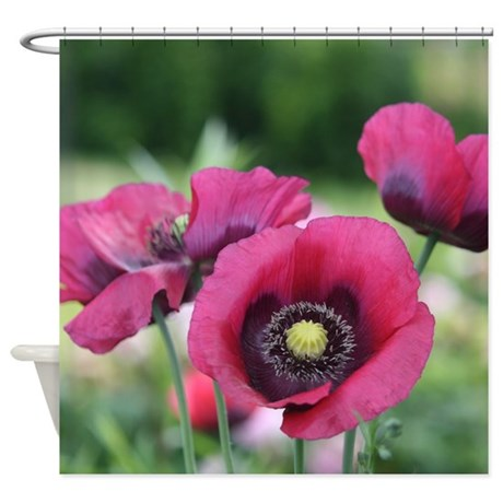 Monets Poppies Shower Curtain