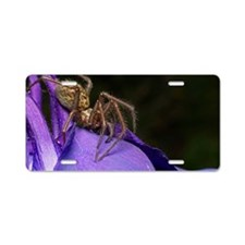 Spider on flower Aluminum License Plate