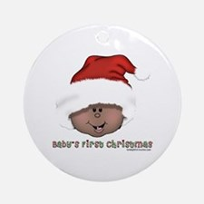 African American Baby First Xmas Ornament (Round)