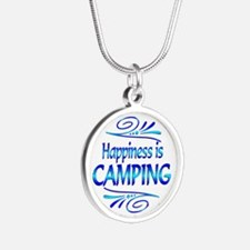 Happiness is Camping Silver Round Necklace