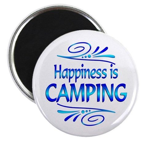 """Happiness is Camping 2.25"""" Magnet (10 pack)"""