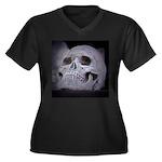 Women's Plus Size Skull V-Neck Dark T-Shirt