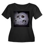 Women's Plus Size Skull Scoop Neck Dark T-Shirt
