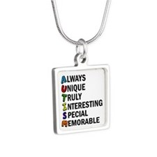 Awesome Autism Silver Square Necklace