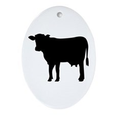 Black cow Ornament (Oval)
