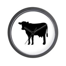 Black cow Wall Clock
