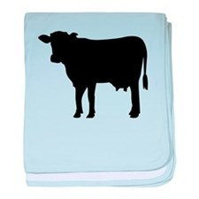 Black cow baby blanket