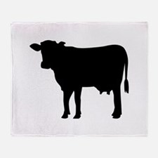 Black cow Throw Blanket