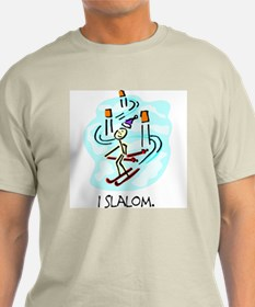 I Slalom Stick Figure Ash Grey T-Shirt