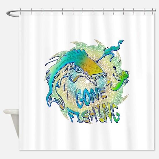 Gone Fishing 3 Shower Curtain