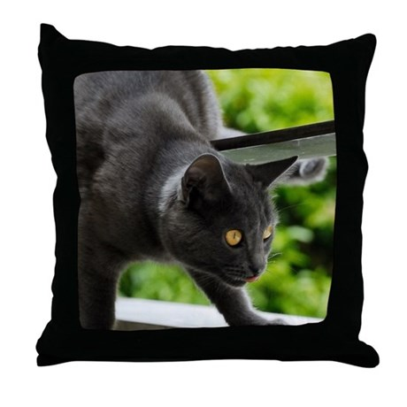 Black cat Throw Pillow by ADMIN_CP_GETTY35497297