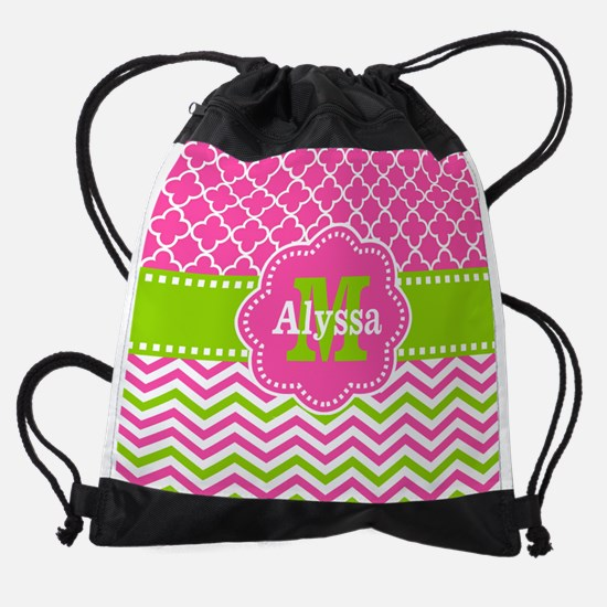 Pink Green Quatrefoil Chevron Perso Drawstring Bag