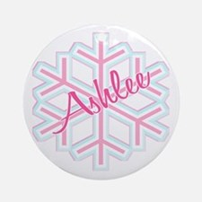 Ashlee Snowflake Personalized Ornament (Round)