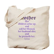 Mothers Day Bible Quote Tote Bag