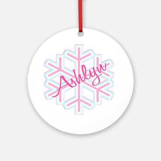 Ashlyn Snowflake Personalized Ornament (Round)