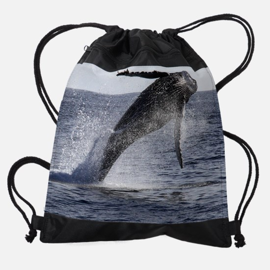 Humpback Whale Breach  Drawstring Bag