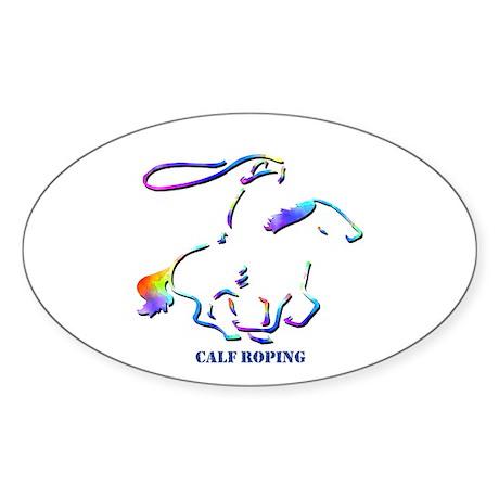 Calf Roping Oval Sticker