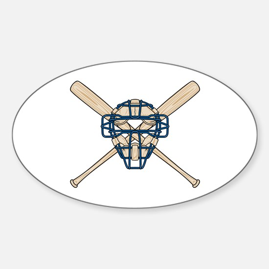 Catcher's Mask and Bats Oval Decal