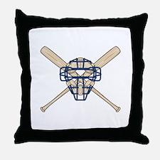 Catcher's Mask and Bats Throw Pillow