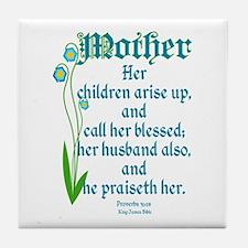 Proverbs 31:28 Flower Tile Coaster
