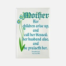 Proverbs 31:28 Flower Rectangle Magnet