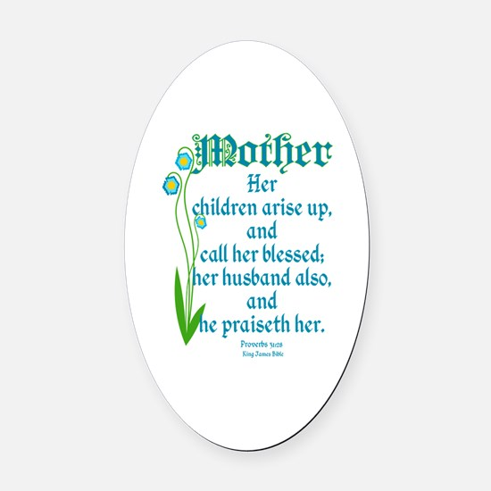 Proverbs 31:28 Flower Oval Car Magnet