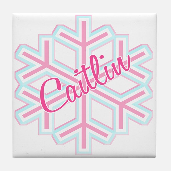 Caitlin Snowflake Personalized Tile Coaster