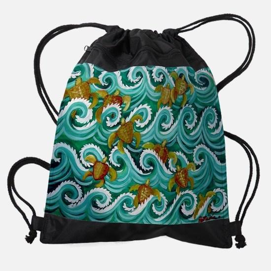 6-5-4-3-Baby Turtles.jpg Drawstring Bag