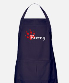 Furry Pawprint Apron (dark)