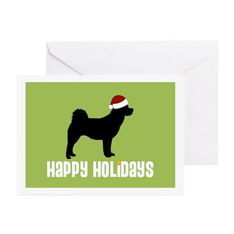 """Akita """"Santa Hat"""" Greeting Cards (Pk of 10)"""
